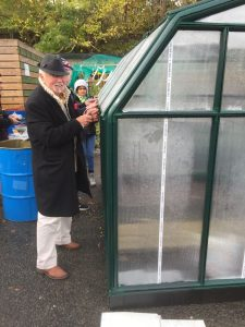 Jim finishing off the greenhouse